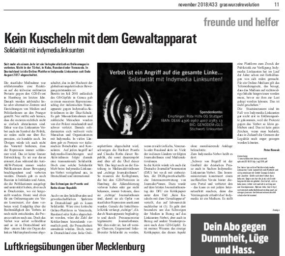Kein Kuscheln mit dem Gewaltapparat (GWR 433 v. Nov. 2018, S. 11)