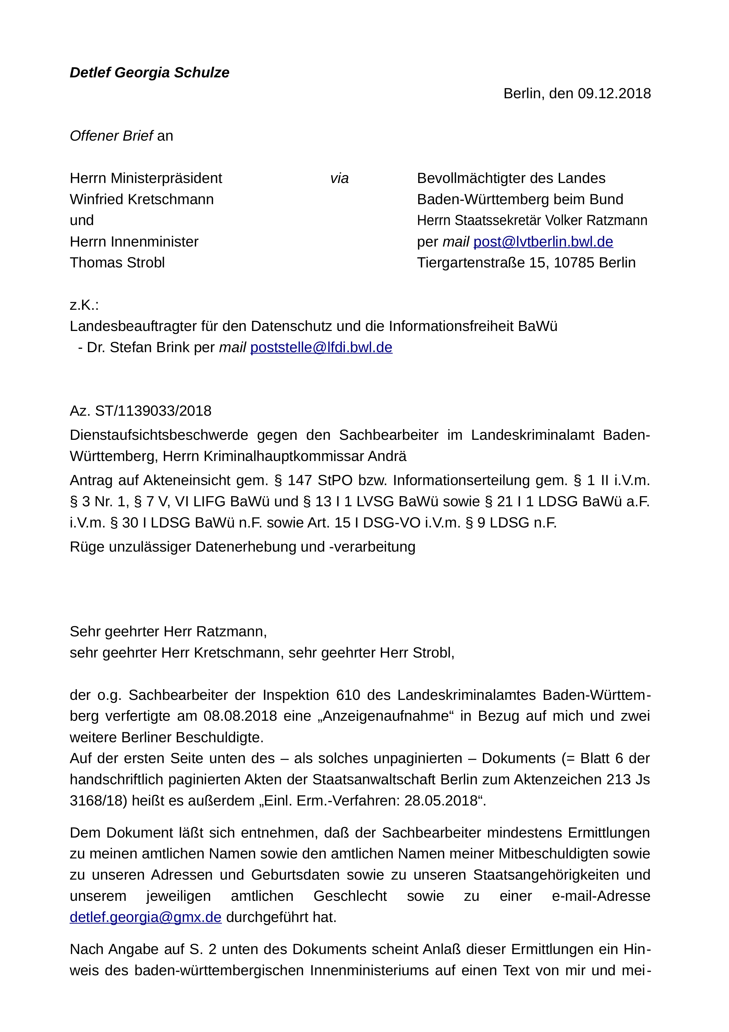 DGS an LReg BaWü; 09.12.2018