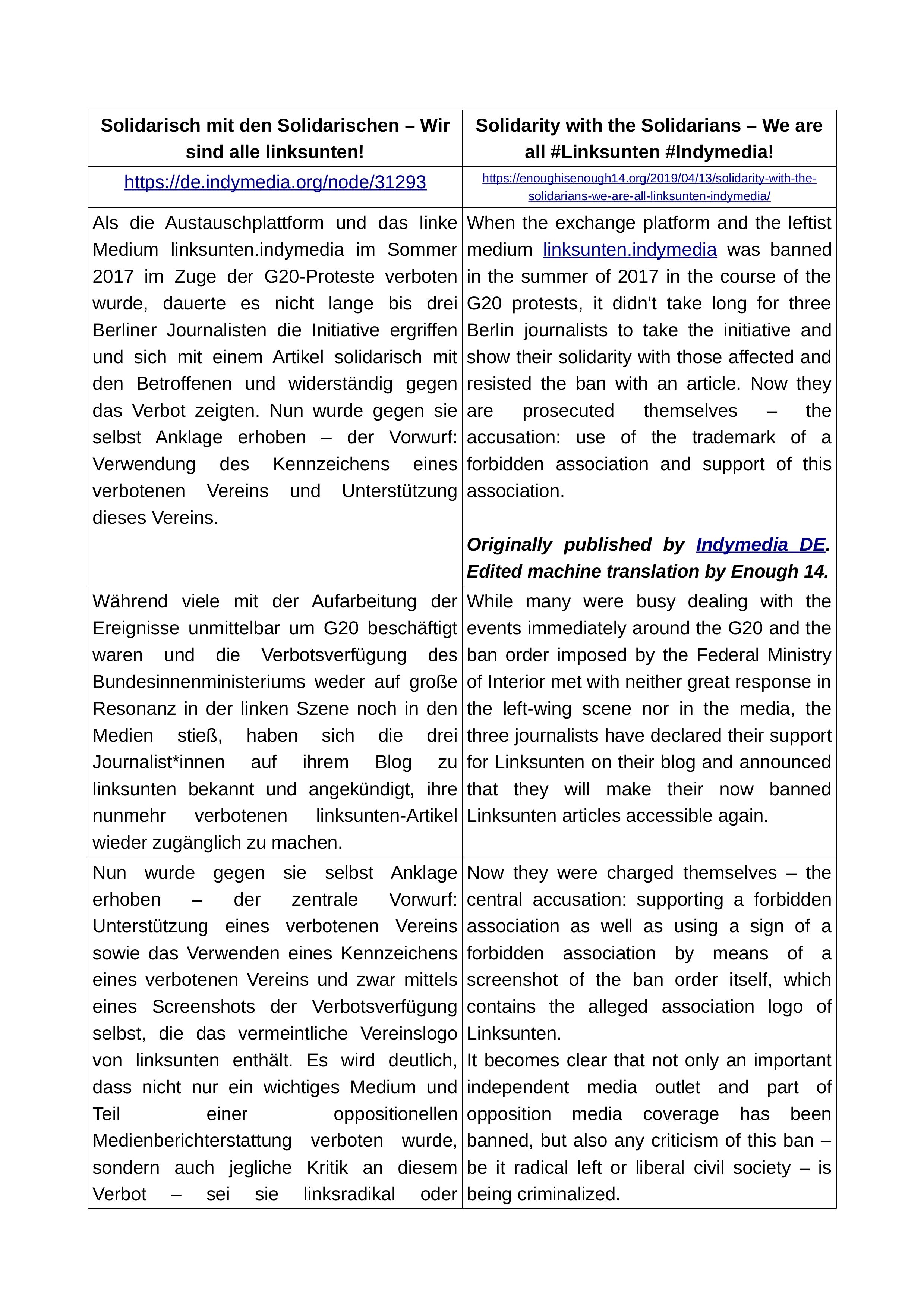 Statement by arbeitskreis kritischer jurist*innen an der HU Berlin (12/04/2009)