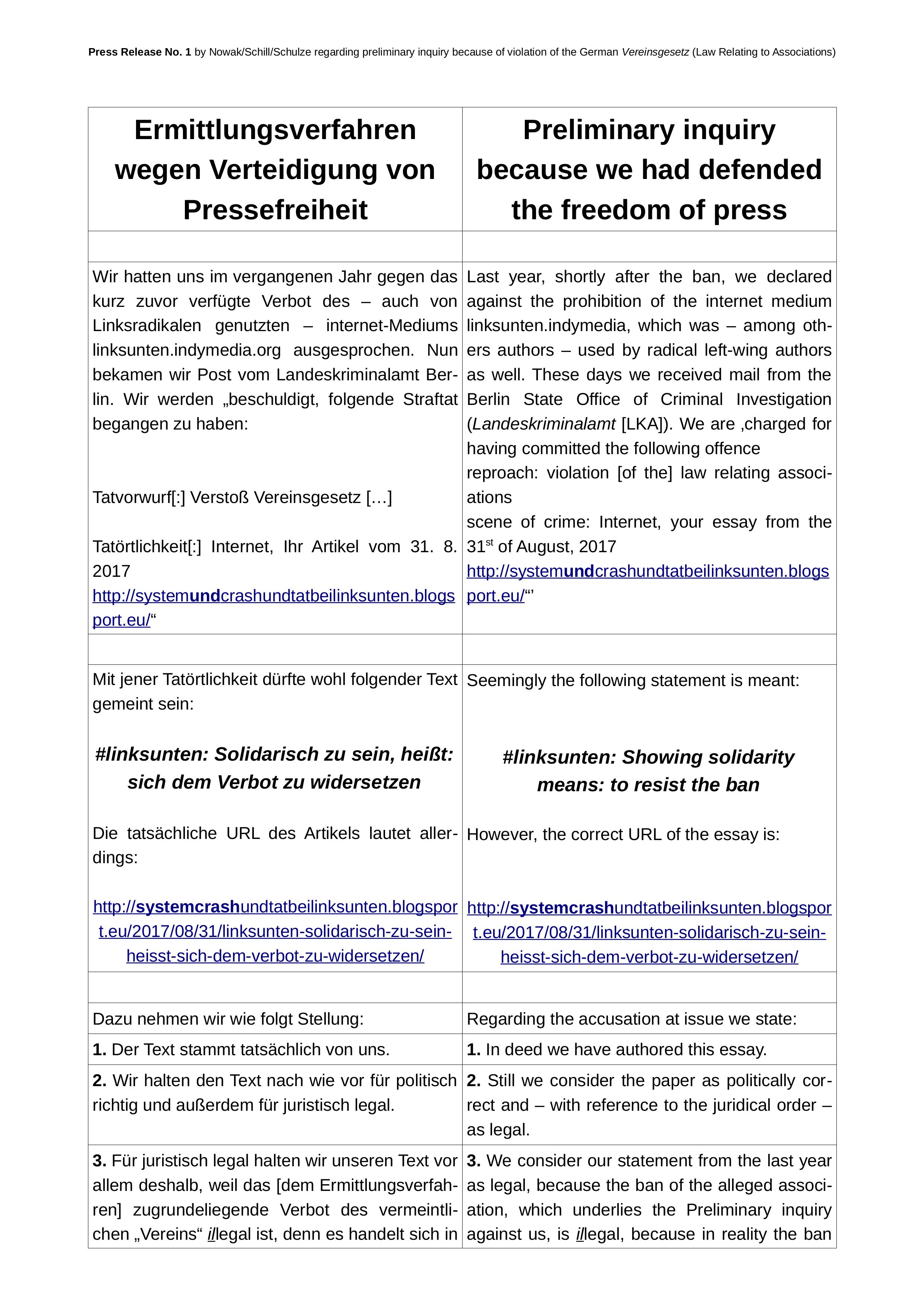 Press Release No. 1 (25/08/2018)