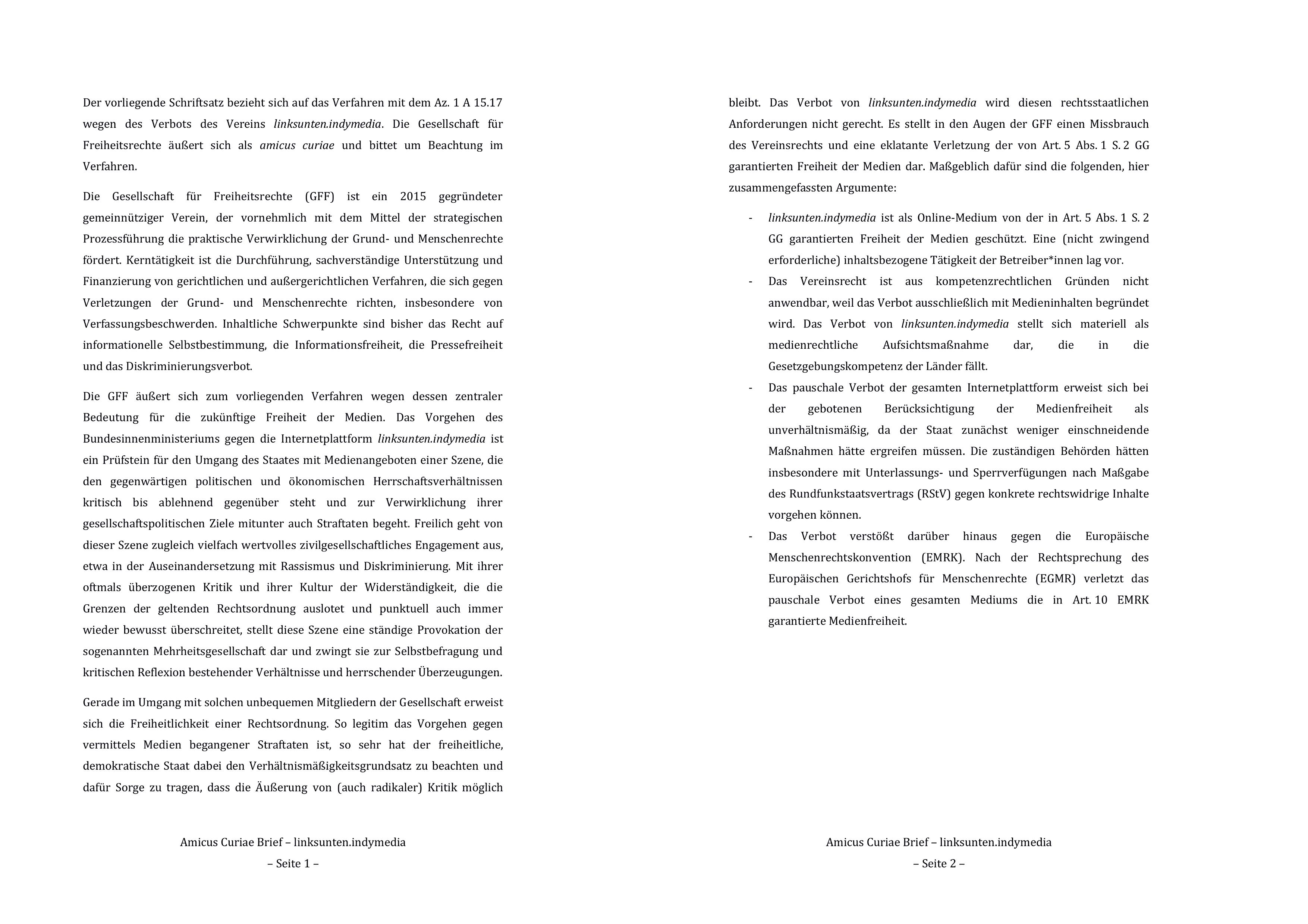 Zusammenfassung (S. 3 und 4) der GFF-Stellungnahme