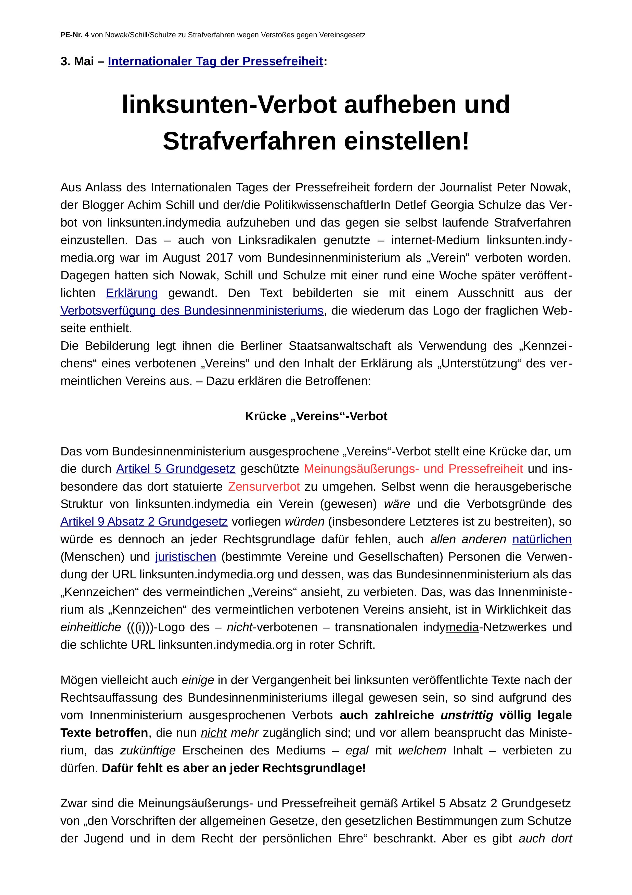 Seite 1 der Presseerklärung