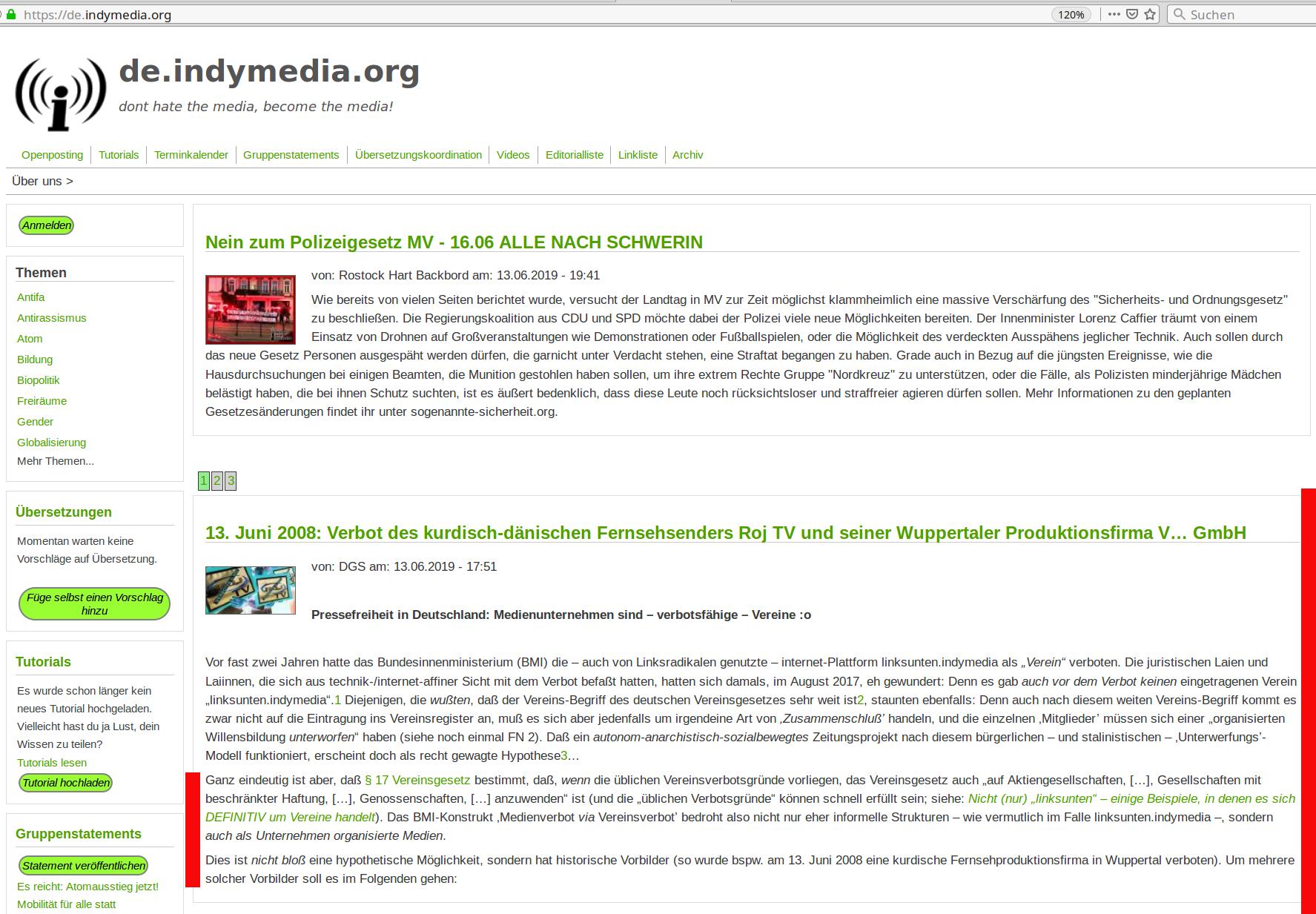 Startseite von de.indymedia vom 14. Juni 2019